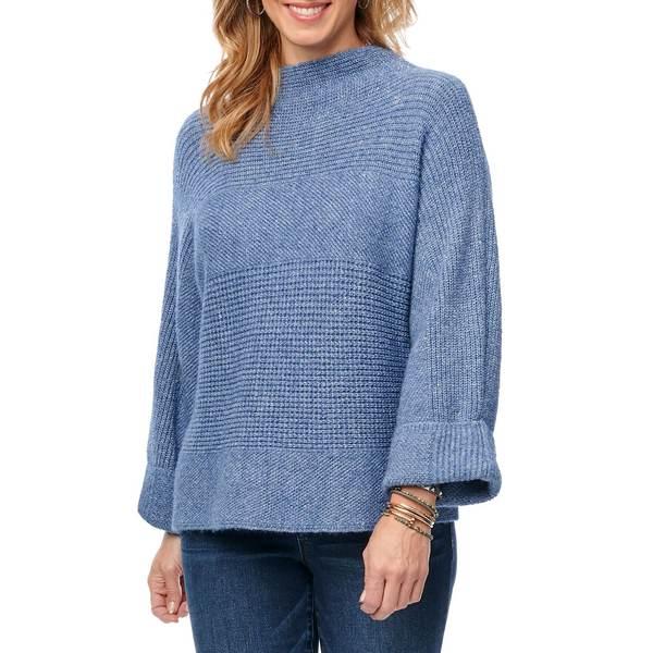 デモクラシー レディース ニット&セーター アウター Long-Sleeve Funnel Neck Sweater Stellar Blue