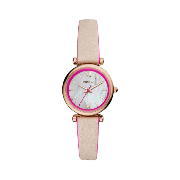 フォッシル レディース 腕時計 アクセサリー Carlie Mini Stainless Steel & Leather-Strap 3-Hand Watch Beige