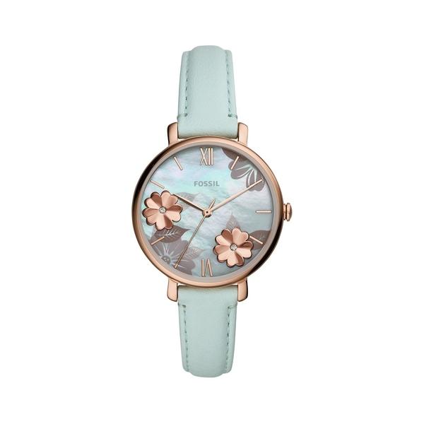 フォッシル レディース 腕時計 アクセサリー Jacqueline Rose Goldtone Stainless Steel, Crystal & Leather-Strap Watch Green