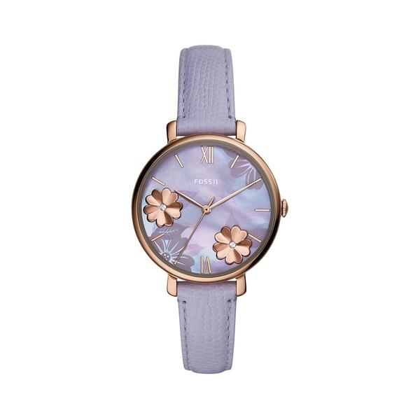フォッシル レディース 腕時計 アクセサリー Jacqueline Rose Goldtone Stainless Steel, Crystal & Leather-Strap Watch Lavender