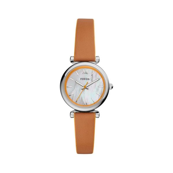 フォッシル レディース 腕時計 アクセサリー Carlie Mini Stainless Steel & Leather-Strap 3-Hand Watch Tan