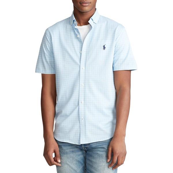 ラルフローレン メンズ シャツ トップス Plaid Knit Cotton Oxford Shirt White Blue