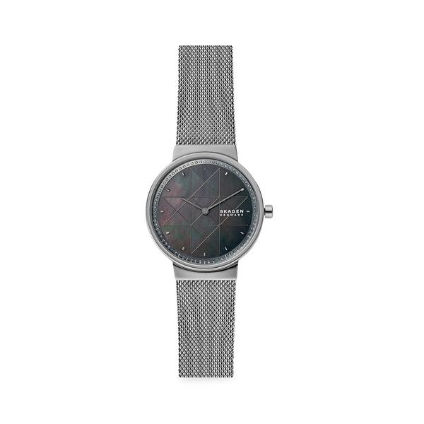 スカーゲン レディース 腕時計 アクセサリー Annelie Two-Hand Gray Steel-Mesh Watch Silver