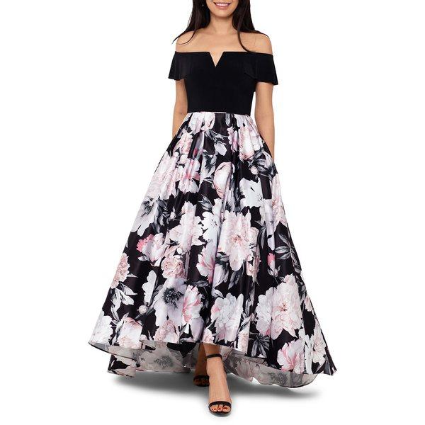 ベッツィ アンド アダム レディース ワンピース トップス Floral-Print Off-The-Shoulder Gown Black Blush