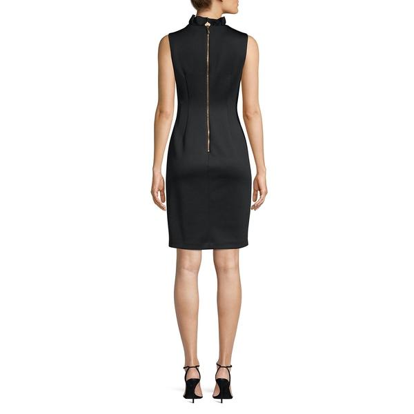 カルバンクライン レディース ワンピース トップス Ruffle Neck Sheath Dress Black8ONvm0ynw