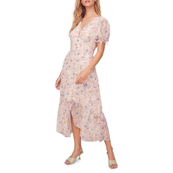 アストール レディース ワンピース トップス Chandler Printed Puffed-Sleeve Midi Dress Peach Floral