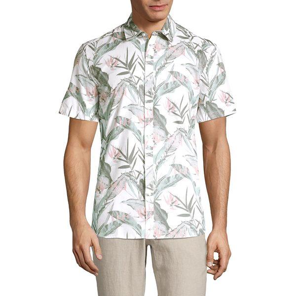 ブラック・ブラウン1826 メンズ シャツ トップス Botanical-Print Short-Sleeve Shirt White