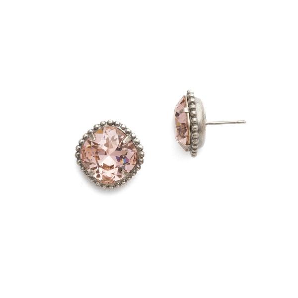 ソレーリ レディース ピアス&イヤリング アクセサリー Essentials Cushion-Cut Swarovski Crystal Solitaire Earrings Vintage Rose