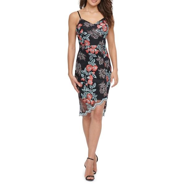 ゲス レディース ワンピース トップス Floral-Print Lace Overlay Sheath Dress Black Multi