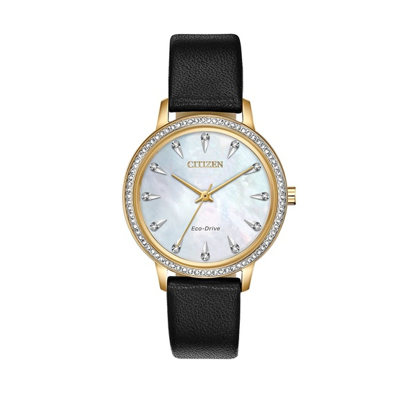 シチズン レディース 腕時計 アクセサリー Silhouette Crystal Diamond, Stainless Steel & Leather-Strap Watch Black