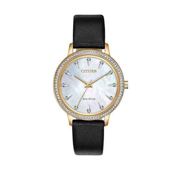 シチズン レディース 腕時計 アクセサリー Silhouette Crystal Diamond, Stainless Steel & Leather-Strap Watch Black