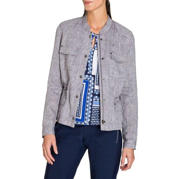 オルセン レディース コート アウター Mandarin Collar Linen Jacket Grey