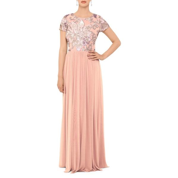 ベッツィ アンド アダム レディース ワンピース トップス Sequined Floral Gown Rose