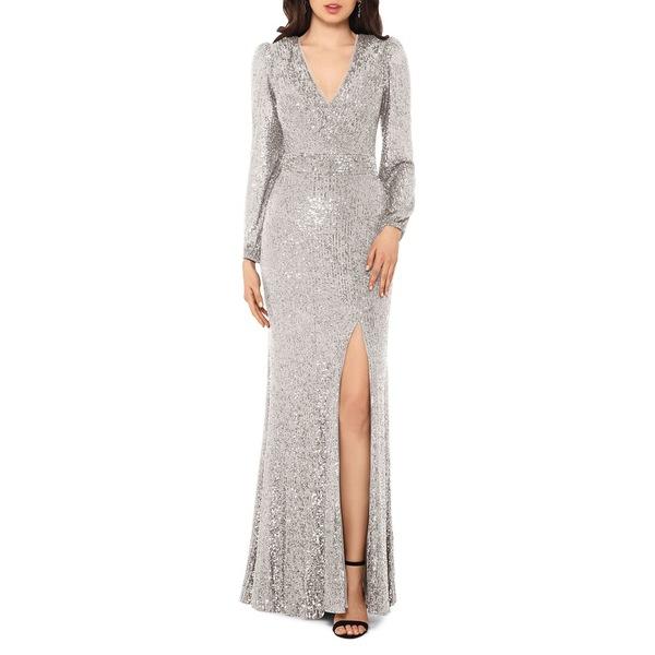 エスケープ レディース ワンピース トップス Embellished V-Neck Gown Nude Silver