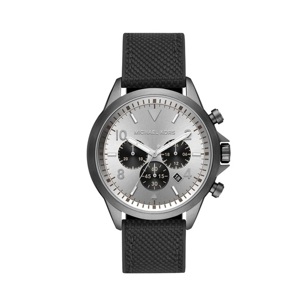 マイケルコース メンズ 腕時計 アクセサリー Gage Stainless Steel, Silicone & Nylon-Strap Chronograph Watch Black