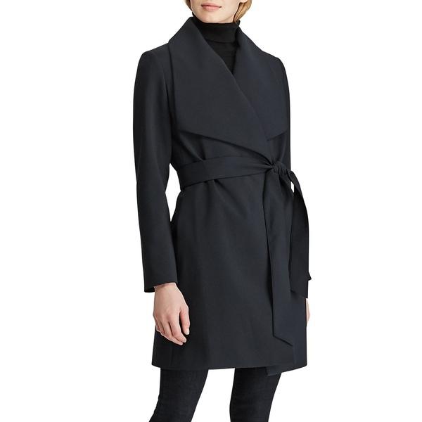 ラルフローレン レディース コート アウター Shawl-Collar Belt Crepe Coat Black