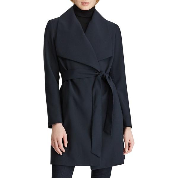 ラルフローレン レディース コート アウター Shawl-Collar Belt Crepe Coat Navy