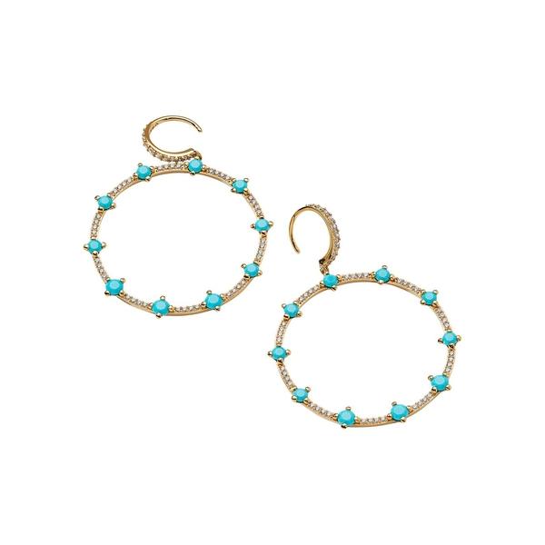 ナディール レディース ピアス&イヤリング アクセサリー Issa Turq 18K Goldplated & Crystal Hoop Earrings Gold