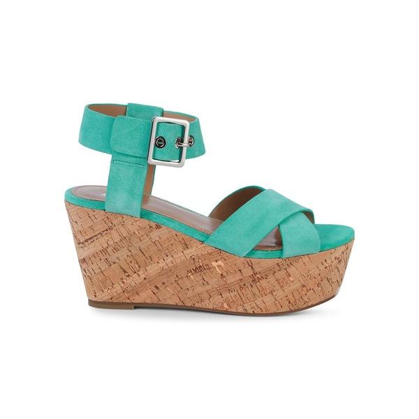 マーク・フィッシャー レディース サンダル シューズ Cacie Leather Platform Wedge Sandals Light Green