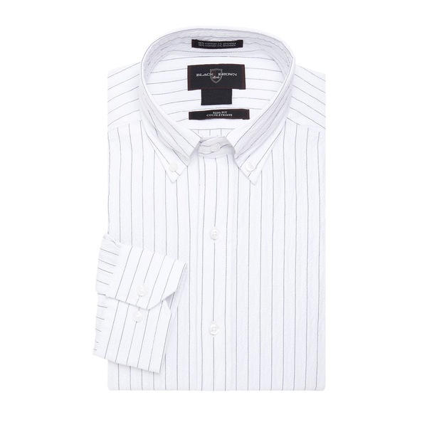 ブラック・ブラウン1826 メンズ シャツ トップス Seersucker Striped Dress Shirt White
