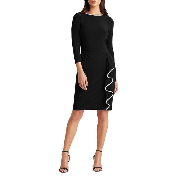 ラルフローレン レディース ワンピース トップス Boatneck Ruffled Jersey Dress Black