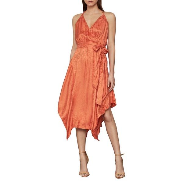 ビーシービージーマックスアズリア レディース ワンピース トップス Dot-Print Faux Wrap Satin Dress Papaya