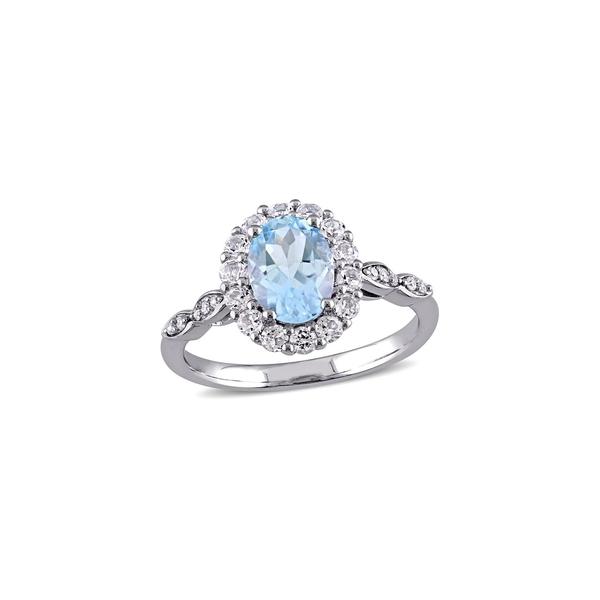 ソナティナ レディース リング アクセサリー 14K White Gold, Blue Topaz, White Topaz & Diamond Halo Vintage Ring White Gold