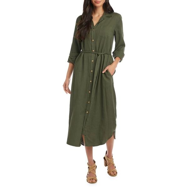 カレンケーン レディース ワンピース トップス Long-Sleeve Midi Shirtdress Olive
