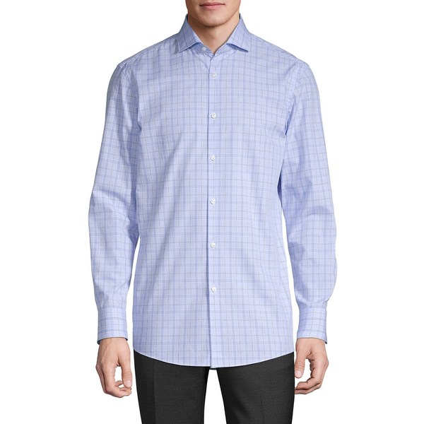 フューゴ メンズ シャツ トップス Meli Sharp Regular-Fit Checkered Dress Shirt Light Pastel Blue