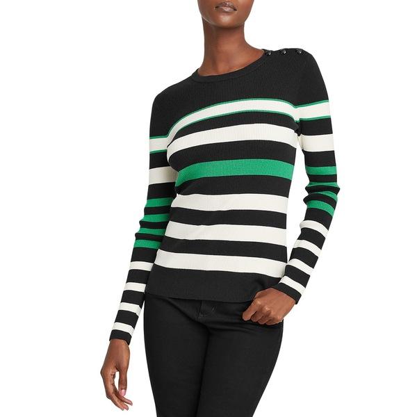ラルフローレン レディース ニット&セーター アウター Striped Cotton-Blend Sweater Polo Black Green