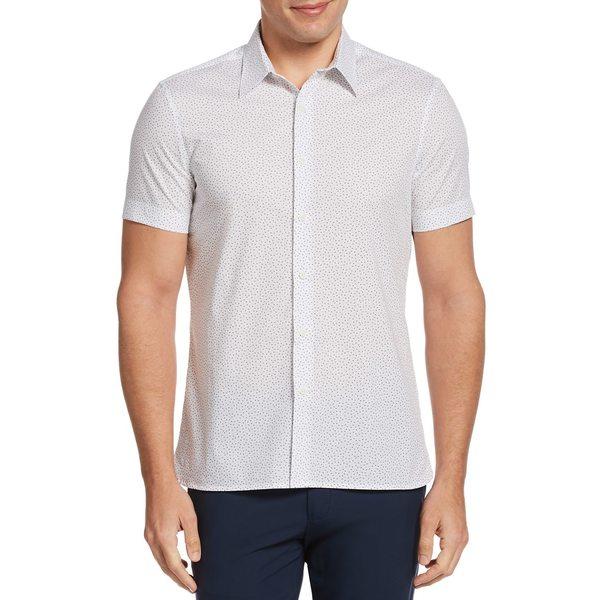 ペリーエリス メンズ シャツ トップス Micro Triangle-Print Short-Sleeve Shirt Bright White