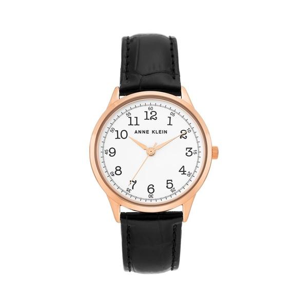 アンクライン レディース 腕時計 アクセサリー Rose Goldtone & Leather-Strap Watch Black