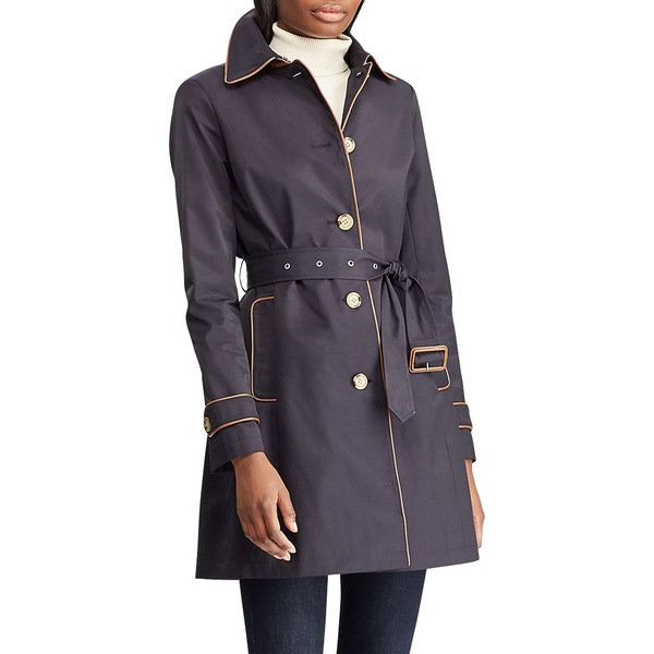 ラルフローレン レディース コート アウター Faux Leather-Trim Cotton-Blend Trench Coat Dark Navy