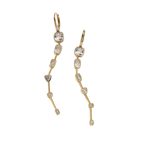ナディール レディース ピアス&イヤリング アクセサリー Cece 18K Goldplated & Crystal Linear Curve Drop Earrings Gold
