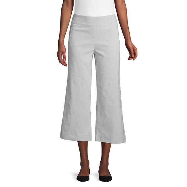 アイザック ミズラヒ レディース カジュアルパンツ ボトムス Slimming Cropped Wide-Leg Pants Grey Strip