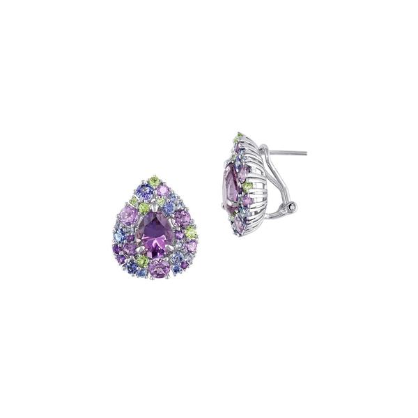 ソナティナ レディース ピアス&イヤリング アクセサリー Sterling Silver, Tanzanite, Amethyst & Peridot Teardrop Earrings Purple