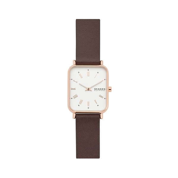 スカーゲン レディース 腕時計 アクセサリー Ryle 2-Hand Rose Goldtone Stainless Steel & Leather-Strap Watch Brown