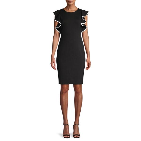 エリザジェイ レディース ワンピース トップス Flutter-Sleeve Sheath Dress Black