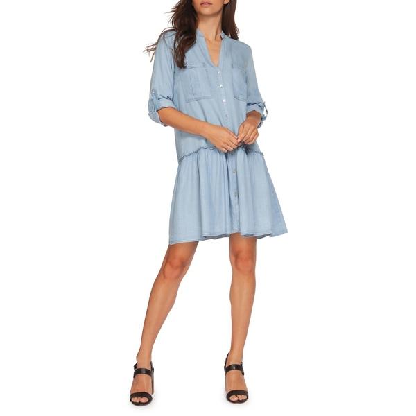 デックス レディース ワンピース トップス Split Neck Button-Front Dress Light Blue