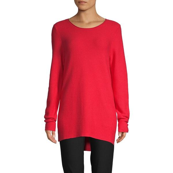 コアライフ レディース ニット&セーター アウター Textured Cotton-Blend High-Low Sweater Vivid Poppy