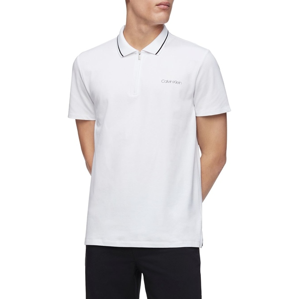カルバンクライン メンズ シャツ トップス Short-Sleeve Cotton-Blend Polo Brilliant White