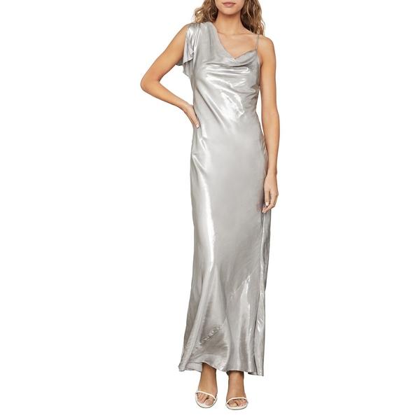 ビーシービージーマックスアズリア レディース ワンピース トップス Satin One-Sleeve Gown Silver