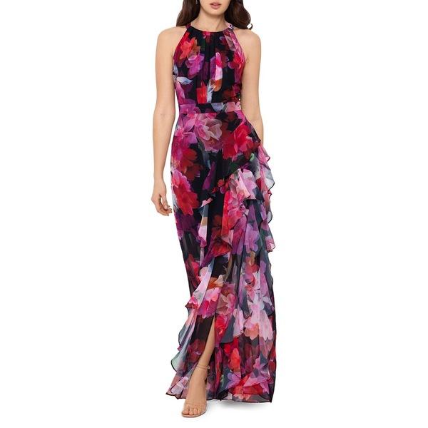ベッツィ アンド アダム レディース ワンピース トップス Floral-Print Chiffon Maxi Dress Black Multi