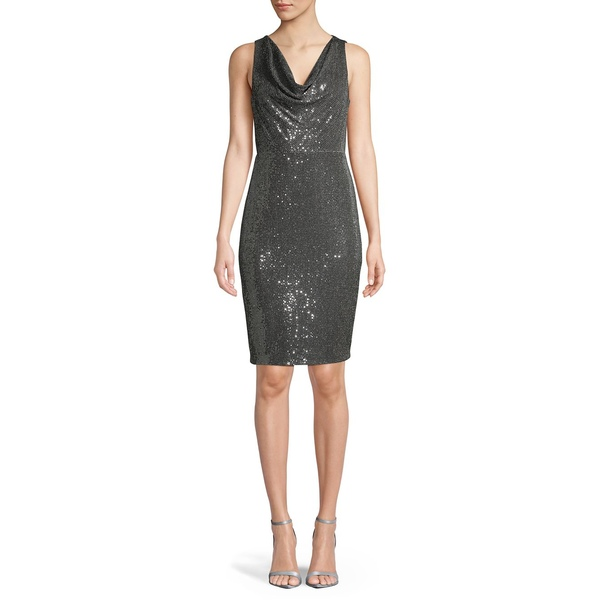 カルバンクライン レディース ワンピース トップス Sequin-Embellished Cowlneck Sheath Dress Smoke