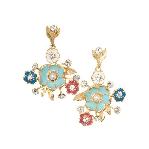 ソロソサエティ レディース ピアス&イヤリング アクセサリー Goldtone & Crystal Floral Bouquet Drop Earrings Gold