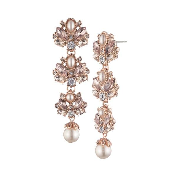 マルケッサ レディース ピアス&イヤリング アクセサリー Rose Goldtone, Faux Pearl & Crystal Drop Earrings Rose Gold