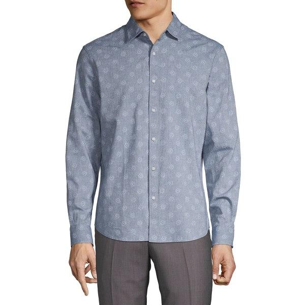 ブラック・ブラウン1826 メンズ シャツ トップス Floral-Print Chambray Shirt Soft Navy