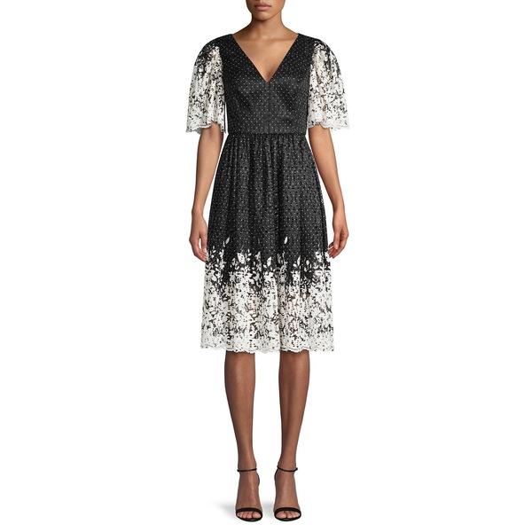 エリザジェイ レディース ワンピース トップス V-Neck Lace Dress Black