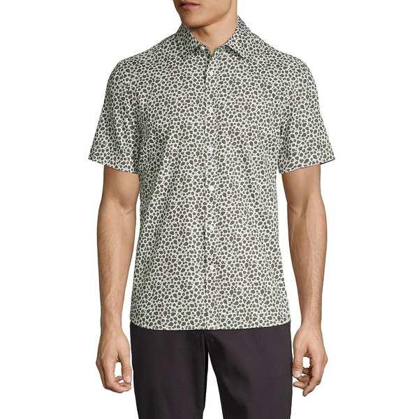 ブラック・ブラウン1826 メンズ シャツ トップス Botanical-Print Short-Sleeve Shirt Deep Olive