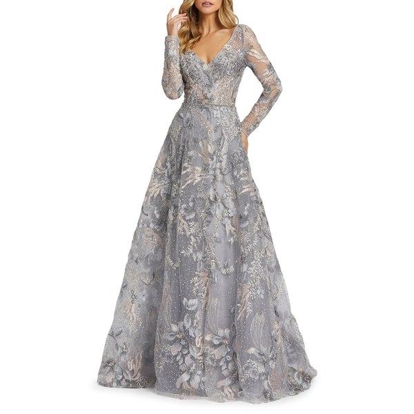 マックダガル レディース ワンピース トップス Floral Embroidered Long-Sleeve Gown Grey Multi